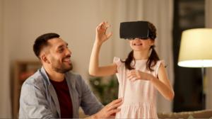 réalité virtuelle à la maison entre une fille et son père